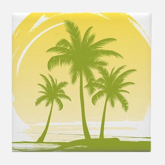 Green Palm Tree Tile Coaster