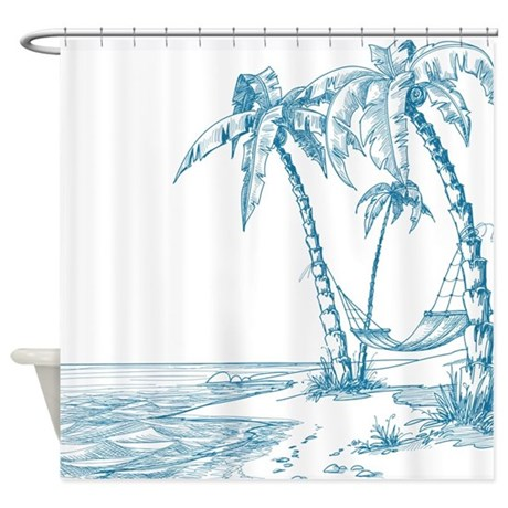 Blue Palm Tree Shower Curtain By Underthesea2
