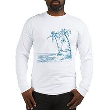 Blue Palm Tree Long Sleeve T-Shirt
