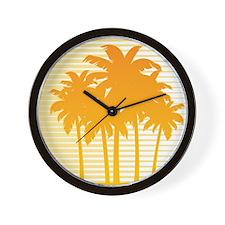 Orange Palm Tree Wall Clock