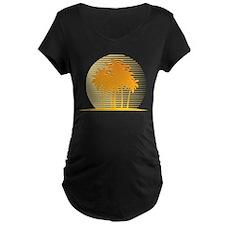 Orange Palm Tree Maternity T-Shirt