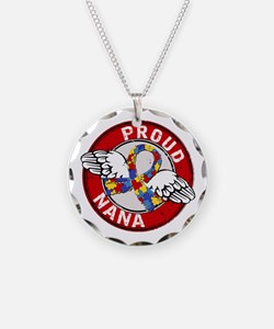 Autism Proud Nana 3 Red Necklace