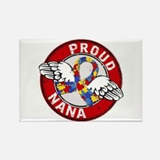 Autism Proud Nana 3 Red Rectangle Magnet