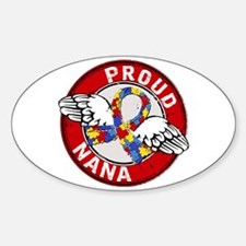 Autism Proud Nana 3 Red Sticker (Oval)