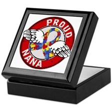 Autism Proud Nana 3 Red Keepsake Box