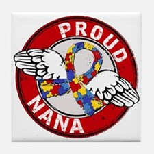 Autism Proud Nana 3 Red Tile Coaster