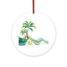 Rainbow Palm Tree Ornament (Round)