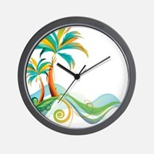 Rainbow Palm Tree Wall Clock