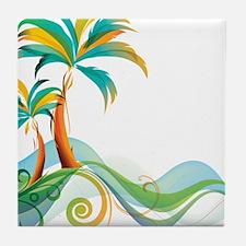 Rainbow Palm Tree Tile Coaster
