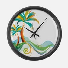 Rainbow Palm Tree Large Wall Clock