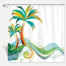 Rainbow Palm Tree Shower Curtain