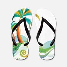 Rainbow Palm Tree Flip Flops