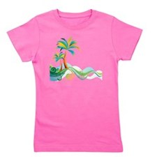Rainbow Palm Tree Girl's Tee