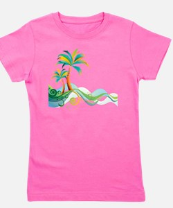 Rainbow Palm Tree Girl's Tee