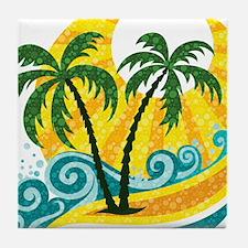 Sunny Palm Tree Tile Coaster