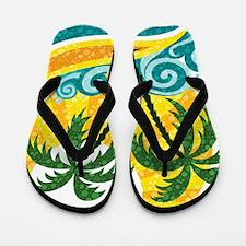Sunny Palm Tree Flip Flops