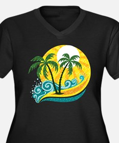 Sunny Palm Tree Plus Size T-Shirt