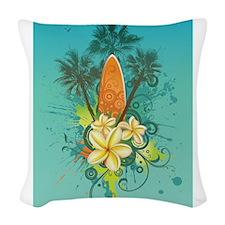 Tropical Surf Woven Throw Pillow