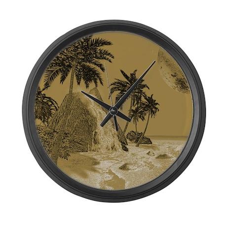 Island in vintage optics Large Wall Clock
