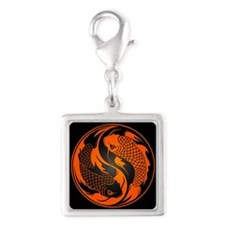 Orange and Black Yin Yang Koi Fish Charms