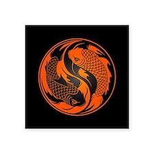 Orange and Black Yin Yang Koi Fish Sticker