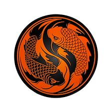 "Orange and Black Yin Yang Koi Fish 3.5"" Button (10"