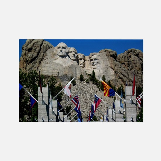 Mt Rushmore Avenue of Flags South Rectangle Magnet