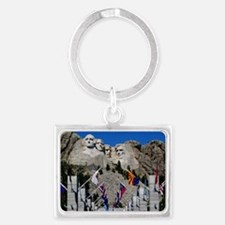 Mt Rushmore Avenue of Flags Sou Landscape Keychain