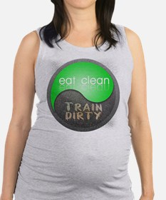 eat clean 12x12 circle Maternity Tank Top