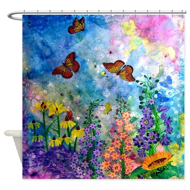 butterfly garden shower curtain by artbymark1