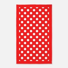 Red and White Polka Dots 3'x5' Area Rug