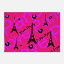 Hot Pink & Black I LOVE PARIS 5'x7'Area Rug