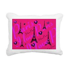 Hot Pink & Black I LOVE Rectangular Canvas Pillow
