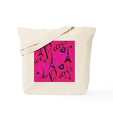 Hot Pink & Black I LOVE PARIS Tote Bag