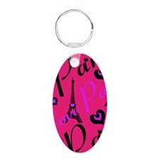 Hot Pink & Black I LOVE PAR Keychains