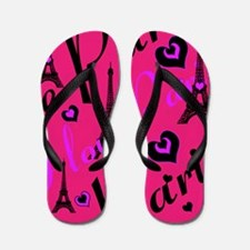 Hot Pink & Black I LOVE PARIS Flip Flops