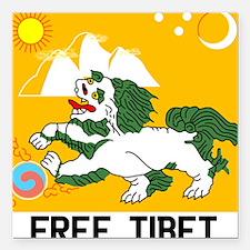 "Free Tibet - Old Flag Square Car Magnet 3"" x 3"""