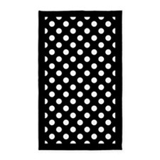 Black and White Polka Dots 3'x5' Area Rug