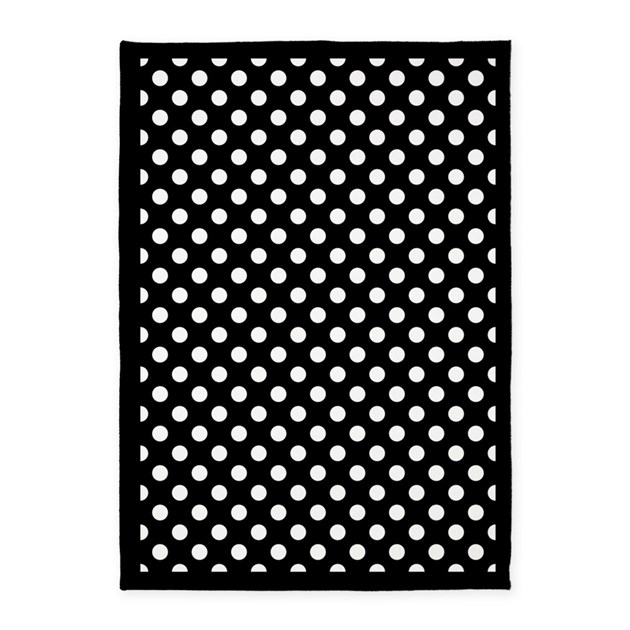 Polka Dot Rugs: Black And White Polka Dots 5'x7'Area Rug By Homecooked