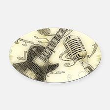 Vintage Guitar  Oval Car Magnet