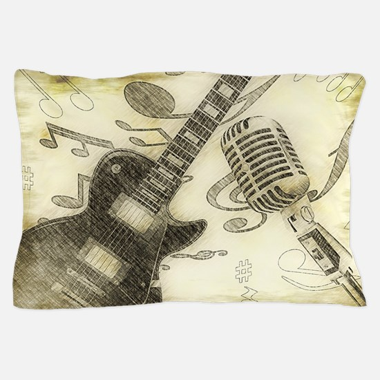 Vintage Guitar  Pillow Case