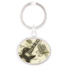 Vintage Guitar  Oval Keychain