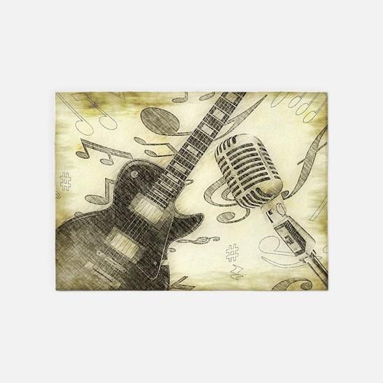 Vintage Guitar  5'x7'Area Rug