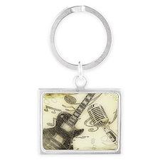 Vintage Guitar  Landscape Keychain