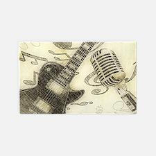 Vintage Guitar  3'x5' Area Rug