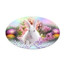 Happy-Easter-Bunny- Oval Car Magnet