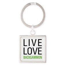 Live Love Backgammon Square Keychain