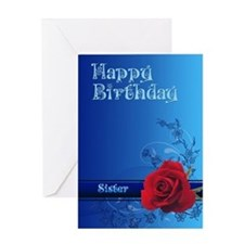 For a sister, a birthday card with a rose Greeting