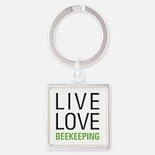 Live Love Beekeeping Square Keychain