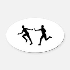 Relay race Oval Car Magnet